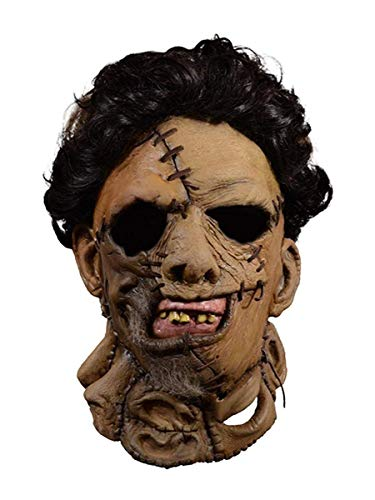 Trick Or Treat Studios Texas Chainsaw Massacre 2 Deluxe Leather Face Mask Standard, Brown