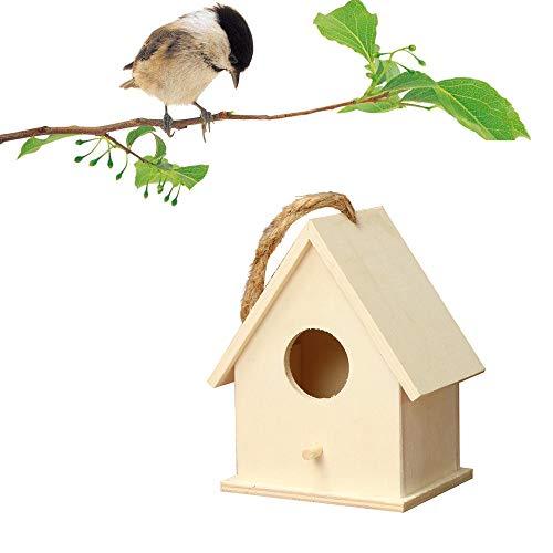 mxjeeio Vogelhaus aus Holz, Kunsthandwerk und Handwerk, Retro-Haus, Landhaus, Vogelhäuser, chinesische Fichte, Vogel, geneigt, Doppelnest, hängendes Vogelhaus aus Holz C
