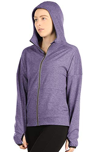 icyzone Workout Track Jackets for Women - Athletic Exercise Running Zip-Up Hoodie with Thumb Holes (M, Lavender)