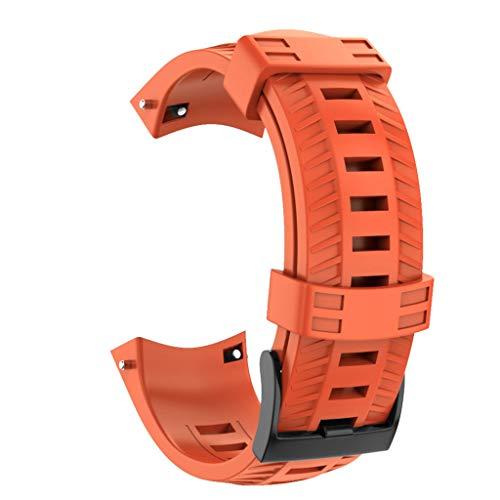 Transer Cinturino per Cinturino in Silicone di Ricambio Sportivo in Silicone, per SUUNTO 9 / Baro Smart Watch (Orange)