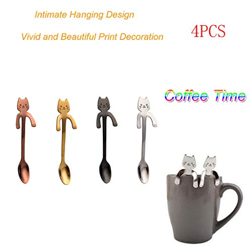 m·kvfa Cat Spoon Long Handle Spoons Flatware Coffee Drinking Tools Kitchen Gadget, Tea Spoon, Ice Cream Spoon, Stainless Steel Spoons