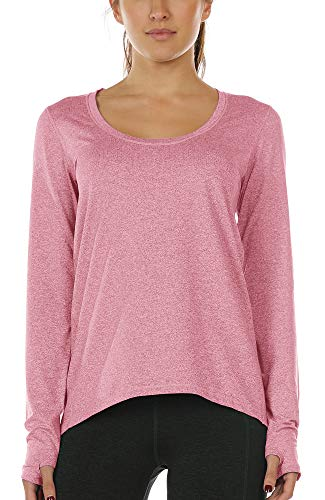 icyzone Camiseta de Yoga Deportiva de Manga Larga para Mujer (M, Pink Mist)