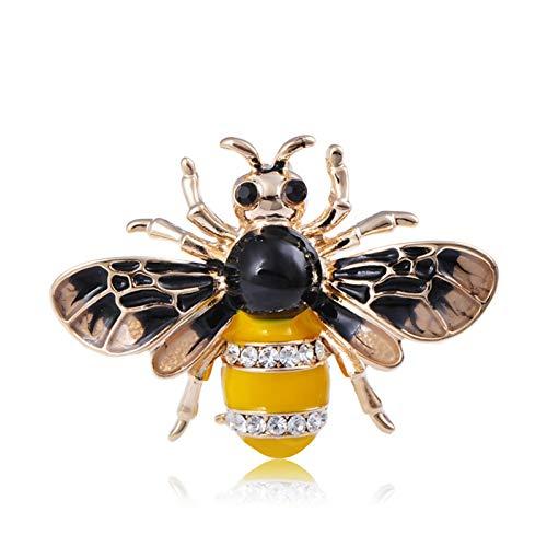 HumoliStore Broche de abeja de insecto vívido, joyería de esmalte de cristal, 2.9 * 3.6 cm Juego de camisas para hombres y niñas de mujer, collar sombrero abrigo mantilla pin pin regalo de accesorio E