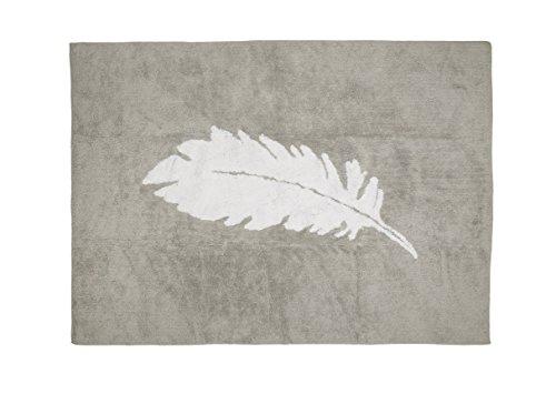Aratextil Tapis enfant 100 % coton, lavable en machine, Collection Plume Gris/blanc 120 x 160 cm