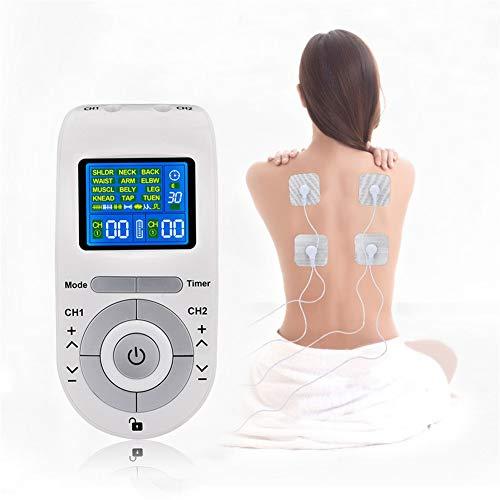 Músculo Tens electroestimulador Máquina de decenas 12 modos con 4 electrodos Almohadillas de alivio de dolor de doble canal para todos los tipos de rehabilitación de dolor crónico Dispositivos estimul