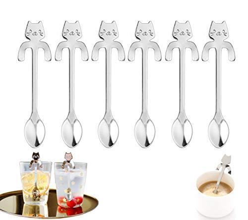 FansQ 6 cucharas de café de Acero Inoxidable Forma de Gato, diseño Colgante de Gato, Cuchara de té, Cuchara de Postre, Utilizada para Agua, té, Leche, café, Postre, Bebidas (Plata)