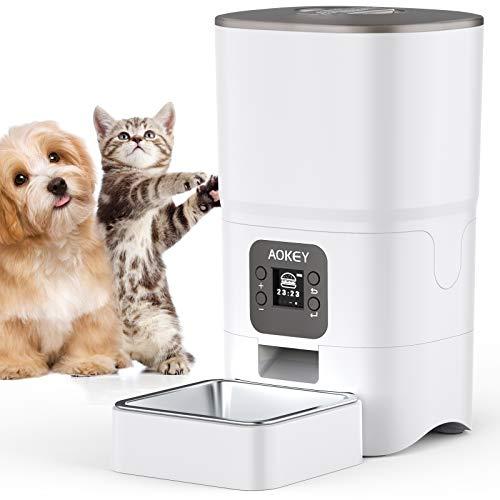 AOKEY Comedero Gato, pantalla LCD de comida Comederos para Gatos, Dispensador Comida Perros 6L Capacidad