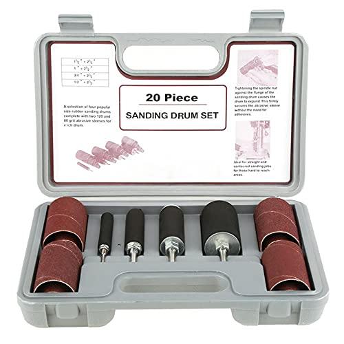 Sxiocta - Kit di levigatrice per tamburo da 20 pezzi, multifunzione, con mandrino 80/120, manicotto tipo valigia, trapano a tamburo, trapano per levigatura per il lavoro del legno