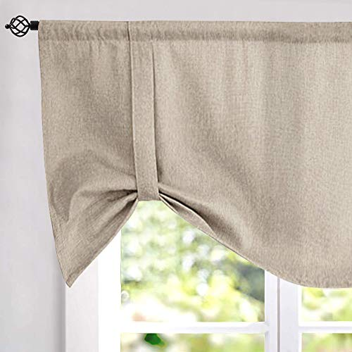 jinchan Tie up Valances for Kitchen Windows Linen Textured Room Darkening Adjustable Tie Up Shade Window Curtain Rod Pocket 18 Inches Long 1 Panel Greyish Beige