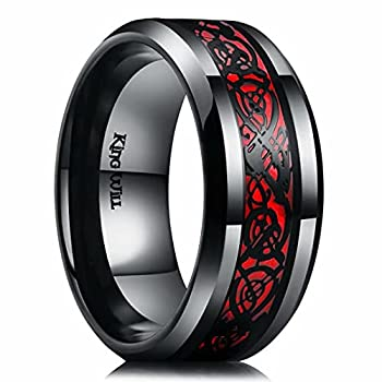 King Will 9mm Dragon Men Black Stainless Steel Red Carbon Fibre & Black Celtic Dragon Inlay Wedding Ring For Men And Women 12