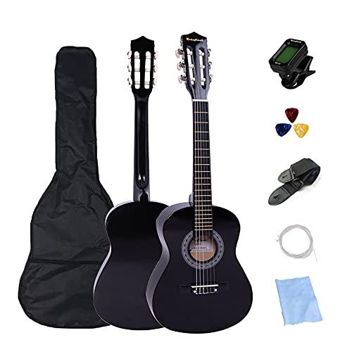 Guitarra clásica española Junior de 30 pulgadas para principiantes, niños, tamaño 1 2 guitarra acústica set para niños con púas de bolsa, afinador, cejilla y cuerdas adicionales (negro)