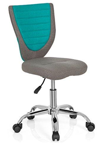 hjh OFFICE 670630 Kinder-Schreibtischstuhl KIDDY COMFORT Filzbezug Grau/Türkis Jugend Bürostuhl höhenverstellbar