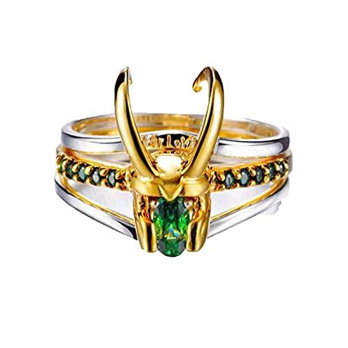 Anillo de impresión Loki - Bague Sterling Thor Faith En Argent 925, anillo creativo de diamantes de imitación de plata de ley 925 para hombres y mujeres, regalos de joyería
