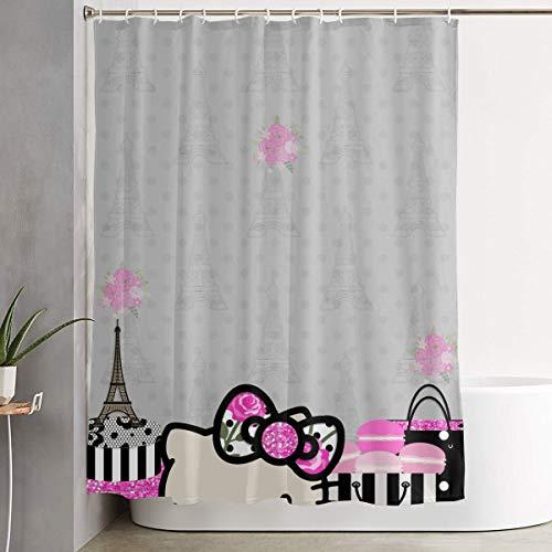 Duschvorhang mit Haken – Hello Kitty in Paris wasserdichtes Polyestergewebe Badezimmer Dekor 152,4 x 182,9 cm