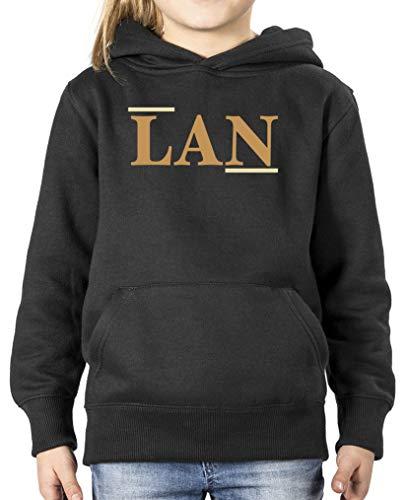 Comedy Shirts - LAN - Sweat à capuche pour fille - Capuche - Poche kangourou - Manches longues - Noir - 7 ans
