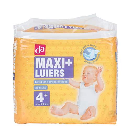Da babyluiers Maxi Plus maat 4+ voor 9 tot 20 kilo 6 x 36 stuks = 216 stuks