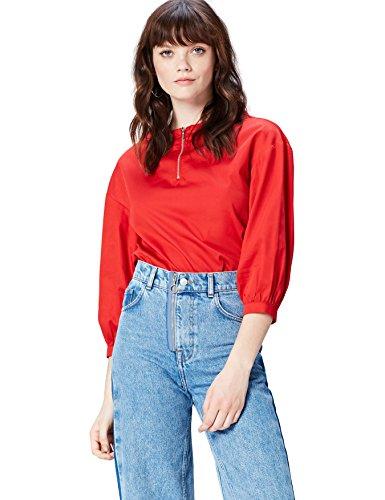 Marca Amazon - find. Zip Front Blusa Manga Larga para Mujer, Rojo (Red), 38, Label: S