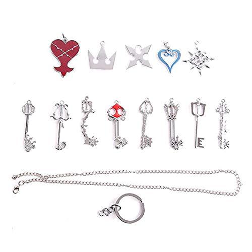I3C Kingdom Hearts - Conjunto de llavero y collar con colgante de arsenal Color de plata (13unidades)