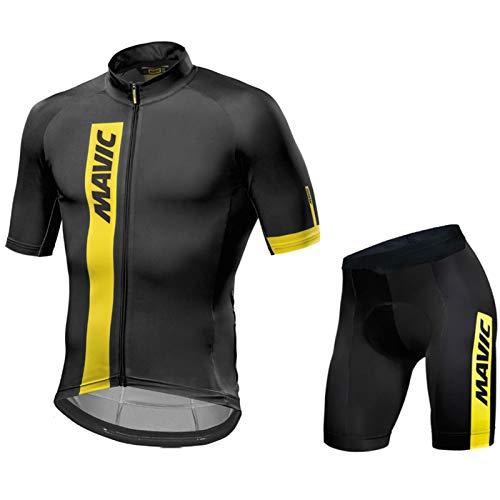 Ropa Ciclista Hombre Verano, Maillot Ciclismo + Pantalon/Culotte Bicicleta Transpirable Elástico Secado Rápido (Black A3,L)
