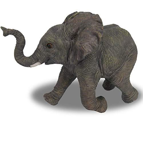 Objectz Dekofigur laufender Baby Elefant - Figur - Rüssel nach Oben - tolle Afrika Deko, 19 cm Höhe 24 cm Länge