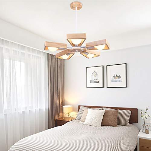 YIWEN Lámpara Colgante De Madera para Techo En Forma De Abanico, 5 Luces, Lámpara Colgante para Sala De Estar, Lámpara De Techo Giratoria Ajustable De 360 °,Blanco