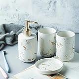Juego de accesorios de baño de cerámica – Juego de baño creativo con soporte para cepillo de dientes, jabonera, dispensador de jabón, taza de dientes (blanco (cuatro piezas))