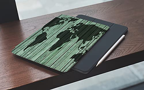 Funda para iPad 10.2 Pulgadas,2019/2020 Modelo, 7ª / 8ª generación,Vintage Farm House World Map Mapa del mundo retro Imprimir en tablón de madera rústi Smart Leather Stand Cover with Auto Wake/Sleep