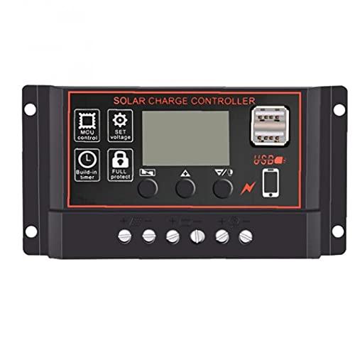 Solarladung Controller 12V / 24V Solarpanel Batterie intelligenter Regler mit LCD-Anzeige USB-Anschluss schwarz 10A