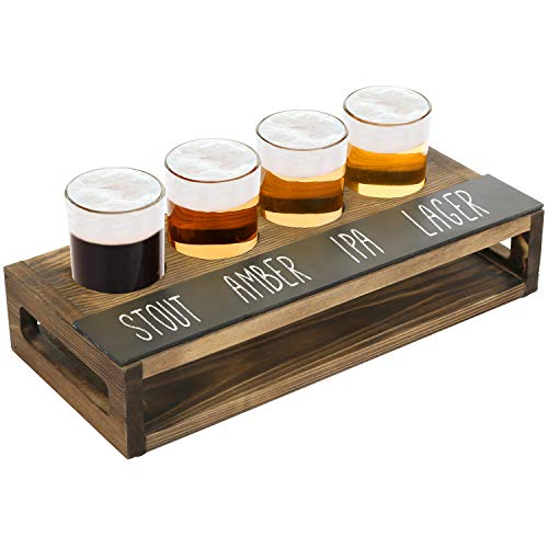 MyGift Rustic Dark Brown Burnt Solid Wood Beer Flight Holder Tasting Sampler Tray Board with 4 Beer Glasses and Erasable Chalkboard Label