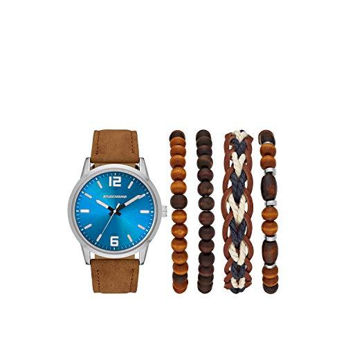 Skechers Men's Sets Alloy Steel Quartz Watch with Plastic Strap, Brown, 23 (Model: SR9026)