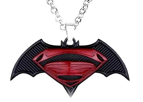 Ketting - rood - superhelden - film - zwart - symbool - gekleurd - medaillon - groot - uitstekende kwaliteit - vermomming - carnaval - halloween - feestgeschenkidee superman
