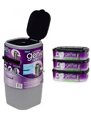 Litter Genie Plus Silver Cat Litter Disposal System and 3 Additional Refills