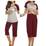 Unibelle - Pijama de lactancia para mujer (algodón y cuello en...