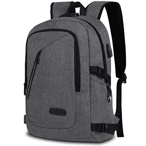 Rucksack Herren, Laptop Rucksack Schulrucksack Jungs mit USB-Ladeanschluss und Anti-Diebstahl Lock Wasserdicht Daypack 15.6 Zoll Laptoptasche