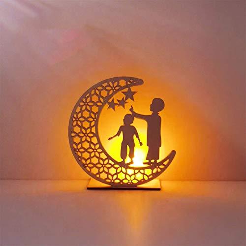 FYBHSC Eid Mubarak Decoración de la Luna Habitación Cuarto de baño Sala de Estar Decoración del césped al Aire Libre Ramadán Eid Mubarak LED Luz de la Noche Mesa de Comedor Crafts,Azul
