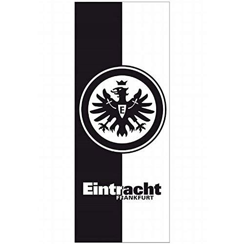 Eintracht Frankfurt Badetuch schwarz weiß, Duschtuch 70 x 180 cm, Strandtuch, Saunatuch SGE - Plus Lesezeichen I Love Frankfurt