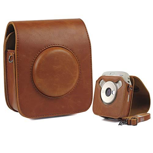 LHKJ Housse pour Fujifilm Square SQ20 Sac de Caméra en Cuir Voyage Caméra Cover Case Sac avec Bandoulière Amovible, Marron