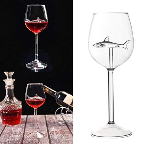 ZFLL wijnglas kristallen wijnglazen Home Shark rode wijnglas met haai in de wijnfles kristallen wijnglazen voor feesthuwelijk fluiten glas