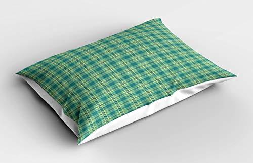 ABAKUHAUS Schotse ruit Siersloop voor kussen, Classic Pattern, standaard maat bedrukte kussensloop, 90 x 50 cm, Petrol Blue Pale Green