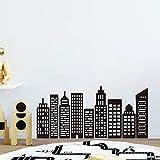 decalmile Pegatinas de Pared Negro Silueta Ciudad Vinilos Decorativos Infantiles Adhesivos Pared Habitación Infantiles Niños Bebés Guardería