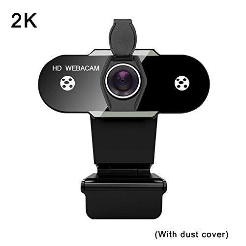 Cotify Webcam USB, 2K HD Streaming Webcam, macchina fotografica per computer con copertura anti-spionaggio antipolvere per YouTube, videochiamate, studio, conferenze, giochi con clip girevole