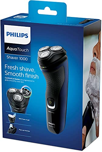 Barbeador elétrico seco ou molhado com aparador Shaver 1300, 1 velocidade, Azul Adriático, Bivolt -Philips