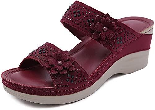 Sandales pour femmes Sandales plates pour femmes Plateforme Sandales Plateforme Plateforme Décontracté Talons Milieus-Moyennes Ouvert Sandales Open Toe Sandales Femmes S Flip Flop Sandale-je_roug
