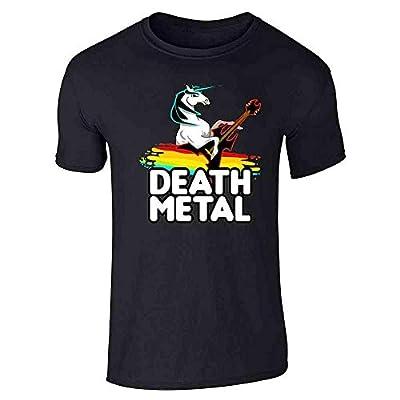 Death Metal Unicorn Retro Rainbow Funny Graphic Tee T-Shirt for Men