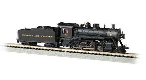 Bachmann Trains Baldwin 2-8-0 DCC Sound Value Econami Equipped Locomotive - Norfolk & Western #722 - N Scale, prototypical Black