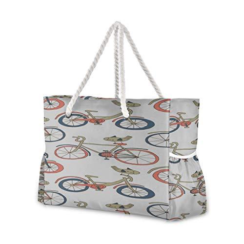 YXUAOQ Robuste Strandtasche Fahrradrad Radspiel Sport Strandtasche Strandtasche mit Reißverschluss 20,5 x 7,3 x 15 Zoll Reißverschluss mit Baumwollgriff für Picknicks Reiseurlaub