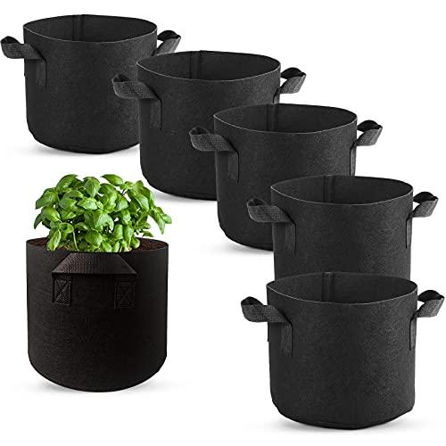 GZjiyu - 6 bolsas de cultivo de tela no tejida con asa para plantas, patatas, tomates, verduras, judías, fresas, calabacines, berenjenas, flores (2 galones)