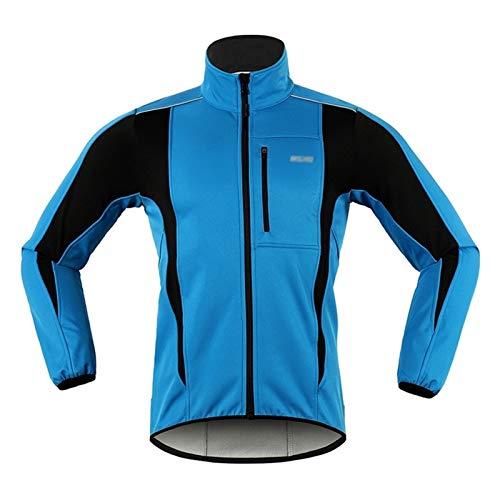 Men's Cycling Jerseys Men's Cycling Jacket Windproof Breathable Lightweight Reflective Warm Thermal Water-Resistant MTB Mountain Bike Jacket Long Sleeve Fleece Padded Sportswear Top Quick Dry Biking S