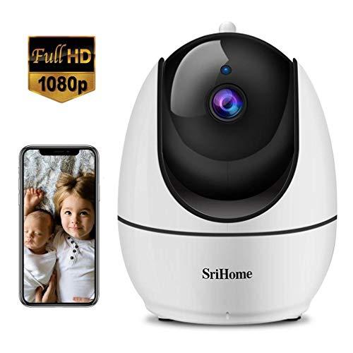 Srihome Überwachungskamera, WiFi innen, 1080P, WLAN, Dome-Kamera, Nachtsicht, Bewegungserkennung, Bidirektionales Audio für Haus/Baby/Haustiere