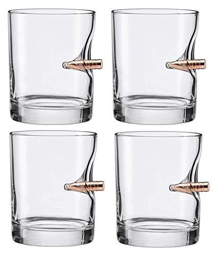 AMDHZ Whiskey Glass Mano soplado Antiguo Moda Whiskey Rocks Vidrio, Licor de Rum Altamente Claro o Tumblers Bourbon Vidrio Mejor Regalo - Conjunto de 4 Decantador de Whisky